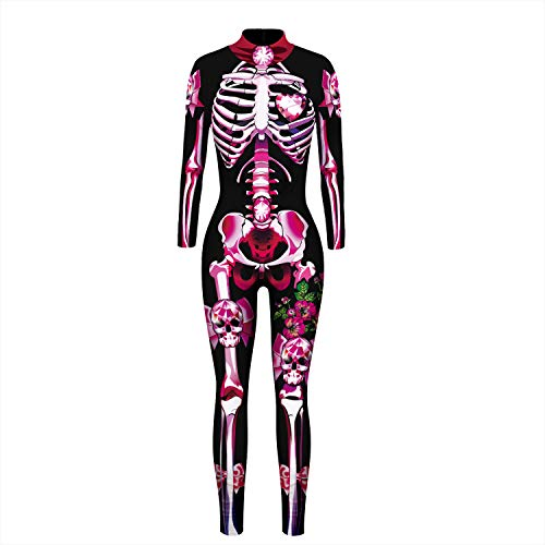 Moon&Miss Womens Skull Skeleton Bone Bodysuits 3D Print Costume Stretch Skinny Catsuit Overall Jumpsuit (X-Large, Pink Skeleton)
