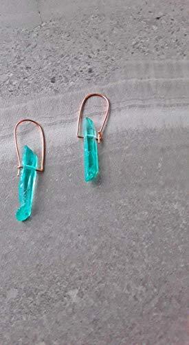 Aqua Quartz Earrings - Aqua Aura Quartz Modern Minimalist Drop Hoop Earrings Rose Gold
