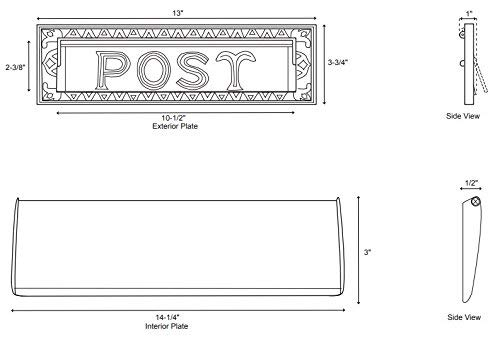 Naiture 13'' Solid Cast Brass Heavy Duty''Post'' Mail Slot Brushed Nickel Finish