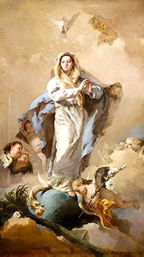 "The Immaculate Conception Virgin Mary Angels Snake Religious Painting by GIAMBATTISTA TIEPOLO 9"" X 16"" Image Size REPRO Canvas Rolled UP. WE Have Other Sizes"
