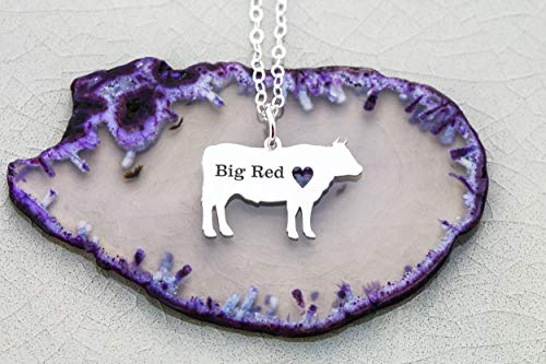 Steer Necklace - Cow Farm Cattle - IBD - Personalize with Name or Date - Choose Chain Length - Pendant Size Options - 935 Sterling Silver 14K Rose Gold Filled - Ships in 1 Business Day - 14k Cow Pendant
