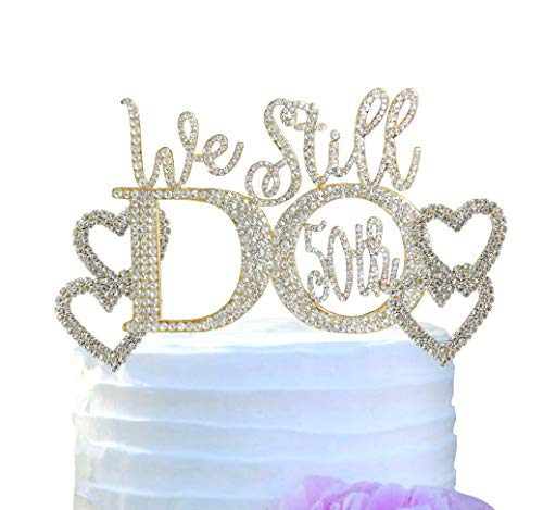 50th Wedding Anniversary Vow Renewal Cake Topper with Silver and Gold crystal rhinestones