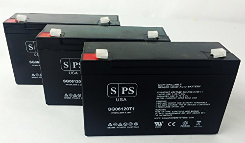6V 12Ah APC NETWORK POWERCELL BD Replacement Rhino Battery6V 12Ah SPS BRAND (3 Pack)