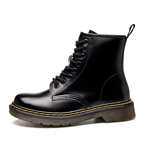 Waterproof Lace Up 2 Winter Boot Lining Shoes Fur Warm Boots Martin Outdoor Lined Short Leather Combat Women Without Snow Faux Flat Men Classic black ukStore Ankle zY84n