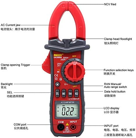 ZGQA-GQA UA2008A Handheld Dual Open Digital Clamp Multimeter AC/DC Voltage Test Probes With Carrying Box