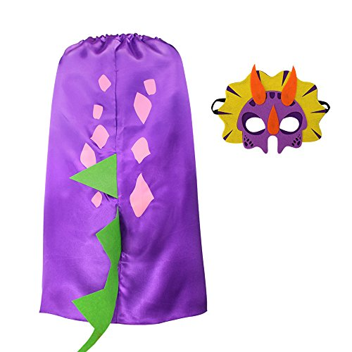 iROLEWIN Dinosaur Dragon Cape - Pretend Cosplay Animal Dress Up Costumes - Kids,Toddler (Purple Dino Cape) ()