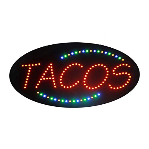 LED Tacos Tortas Burritos Open Light Sign Super Bright Electric Advertising Display Board for Message Business Shop Store Window Bedroom 27 x 15 inches -