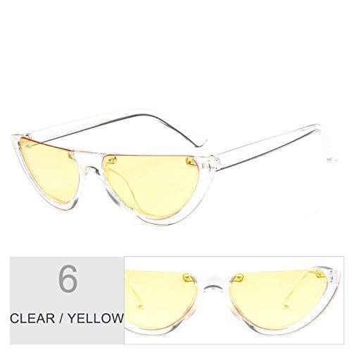 gato de TL Negro de de ojo Clear Gafas gafas personalidad Vintage Sunglasses claro Yellow mujeres sol qaIwraxXn