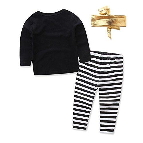 Baby Toddler Girl Long Sleeve Balck Top+Stripe Pants+Gold Headband 3Pcs Set (9-18 Month, Black)