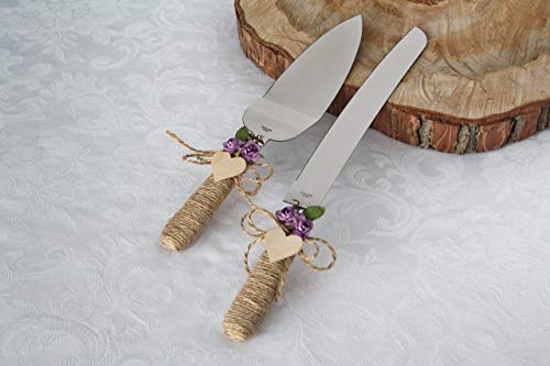 - Rustic chic wedding cake cutter, Lilac flowers cake cutter, Wedding cake server set, Country wedding cake cutting, Cake server & cake knife set