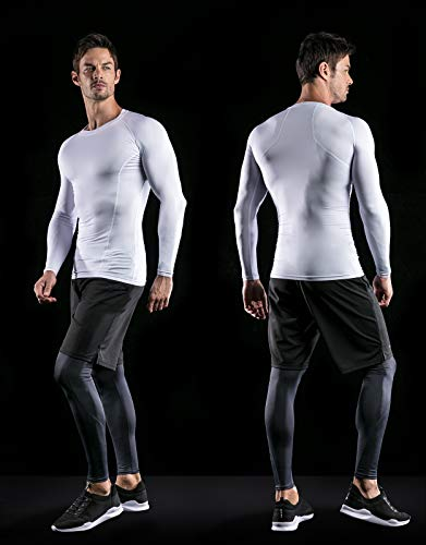ATHLIO AO-BLS01-KCW_Large Men's (Pack of 3) Cool Dry Compression Long Sleeve Baselayer Athletic Sports T-Shirts Tops BLS01 by ATHLIO (Image #5)