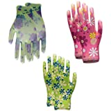 G2PLUS Gardening Gloves 6 Pairs Briers Lady Glove with Lovely Floral Prints Lightweight and Flexible Gripper Gloves