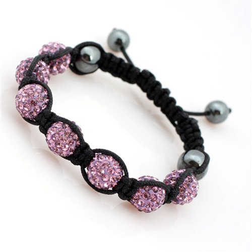 10mm Pink Pave Sparkle Swarovski Crystal Ball Hand-Woven Bracelet Adjustable 7 Beads