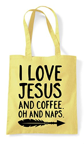 Coffee Oh Tote Jesus Love Statement Naps And Shopper Religious Lemon Bag I RAxBFwqcWR