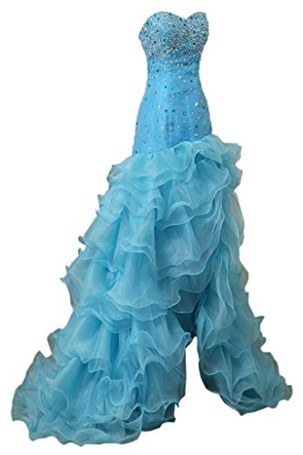 amp;Organza Satin Ivydressing Damen Festkleid Lang Mermaid Blau Abendkleider Steine Luxurioes qXHwTO