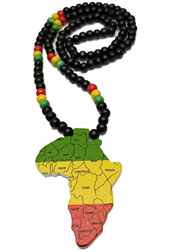 n or Black Wooden Africa Pendant Necklace Beads Chain African map Continent Wood Long (Black) ()