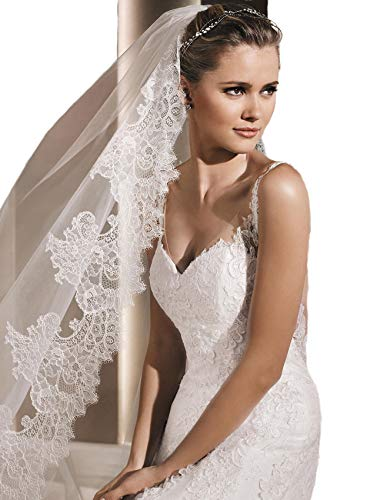 (Passat Ivory 1T 3M Long Cathedral Scalloped Soft French Lace bridal veil H18)
