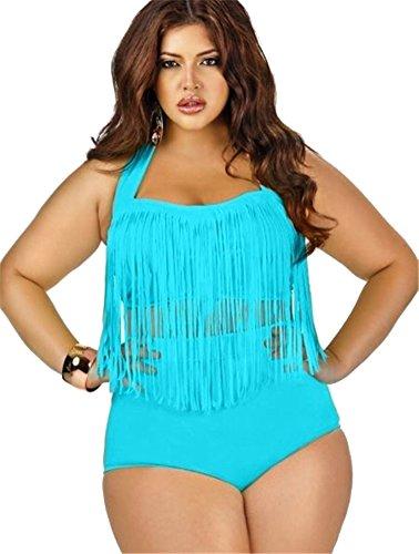 Baymate Mujer Trajes De Baño Bikini De Dos Piezas Borla De Cintura Alto De Conjunto Talla Grande Cielo Azul