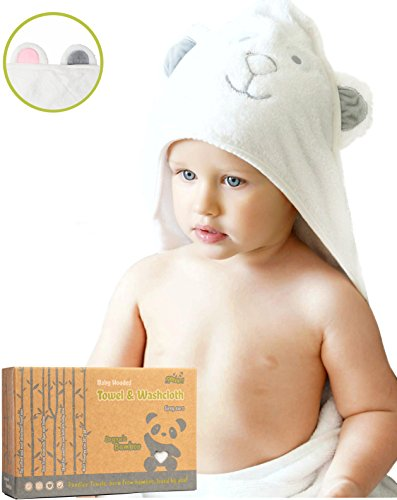 Luxury Hooded Baby Towel and Washcloth   ORGANIC Extra Soft Bamboo, Hypoallergenic & Antibacterial   Great Gift for Boys & Girls   better than Cotton, Unisex Towel for Infant, Toddler & Kid by Pandiee
