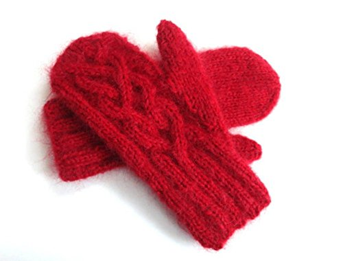 Red Mittens Hand Knit Wool and Mohair with Celtic Twist Cable (Mohair Cable)