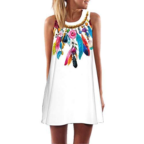 (Women Summer Dress Women Vintage Boho Sleeveless Dress Plus Size Beach Printed Short Mini Dress 2019 (M, White 3))
