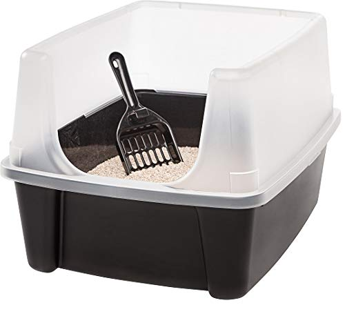 IRIS Open-Top Cat Litter Box with Clear High-Shield without Scoop, Black