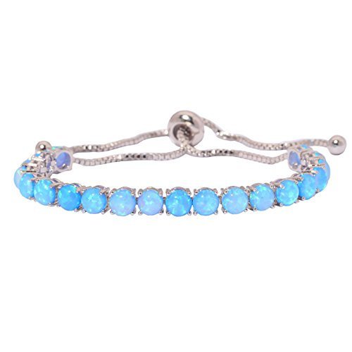 CiNily Created Blue Fire Opal Rhodium Plated for Women Jewelry Gemstone Adjustable Chain Bracelet 4 1/4