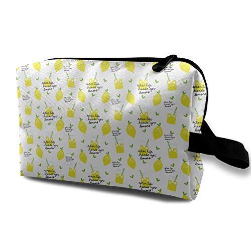 (Lemon Pattern Cosmetic Bags Makeup Organizer Bag Pouch Zipper Purse Handbag Clutch Bag)