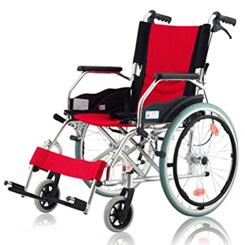 NKDK Wheelchair Aluminum Wheelchair Folding Old Man Lightweight Manual Wheelchair Reinforced Thickened Big Wheel