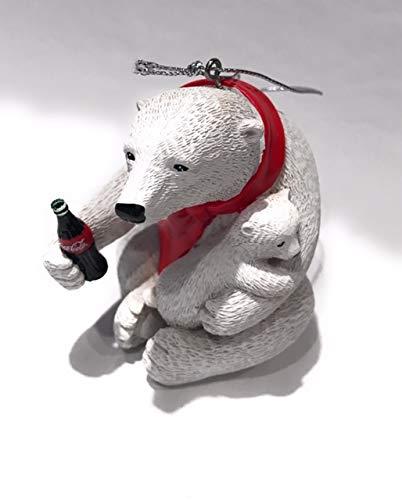 Kurt Adler Coca Cola White Polar Bear with Baby Bear Christmas Tree Resin Collectible Ornament