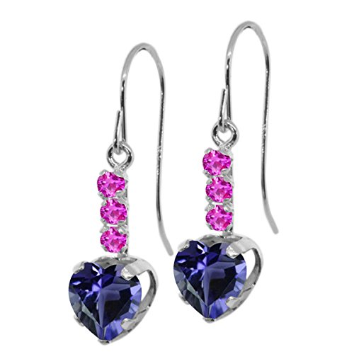 (Gem Stone King 1.46 Ct Heart Shape Blue Iolite Pink Sapphire 925 Sterling Silver Earrings)