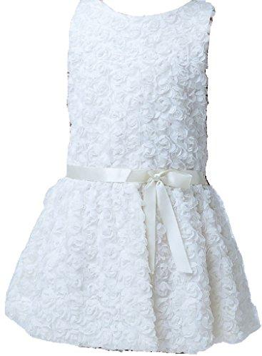 Little Baby Girls Darling Full Rosettes Bow Sash Flowers Girls Dresses Ivory (Spectacular Flower Girl Dress)