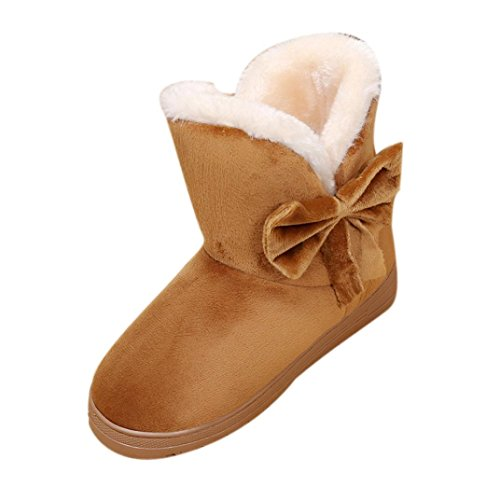Kolylong Women Winter Warm Bowknot Snow Boots Flats Shoes Brown NXc4o