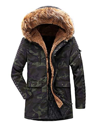 Camouflage Casual Winter Long ORANDESIGNE Parka Warm Jacket Windbreaker Windproof Hooded Men's Fur Faux Coat Thicken Outdoor Outwear 7Rx5awxq