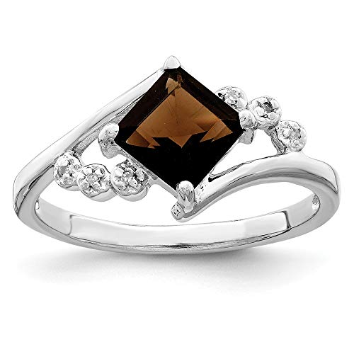 (925 Sterling Silver Princess Cut Smoky Quartz Diamond Band Ring Size 7.00 Stone Gemstone Fine Jewelry Gifts For Women For Her)