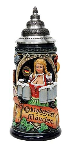 206th Anniversary Oktoberfest Beer Maiden Beer Stein | 2016 Munich Oktoberfest Beer Stein Limited Edition of ONLY 206 Pieces (Oktoberfest Beer Wagon)