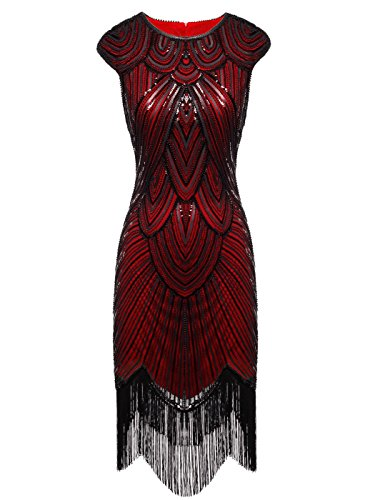 FAIRY COUPLE 1920s Sequined Embellished Tassels Hem Flapper Dress D20S002(XL,Dark Red) -