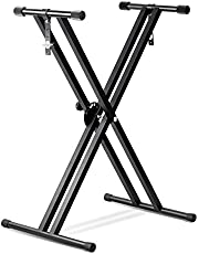 SaveOnMany ® Double-Brace X Keyboard Stand Heavy Duty Classic Music Musical Electronic Piano Stands Dual Braced with Locking Straps by PrimeCables, Black (5 Position Folding Adjustable Height)
