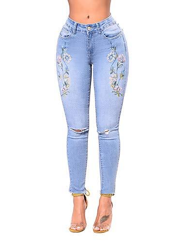 YFLTZ Pantalon Jeans Street Chic pour Femme - Couleur Unie Blue