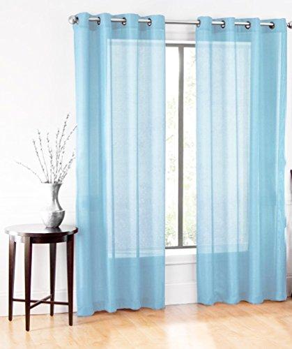 GorgeousHomeLinen (Ruby)Different Colors & Sizes 2 Pc Sheer Window Curtain Drape Panels 8 Soild Bronze Grommets (63