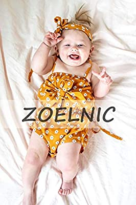 ZOELNIC Baby Girls Sleeveless Romper Toddler Girl Floral Bow Halter Headband