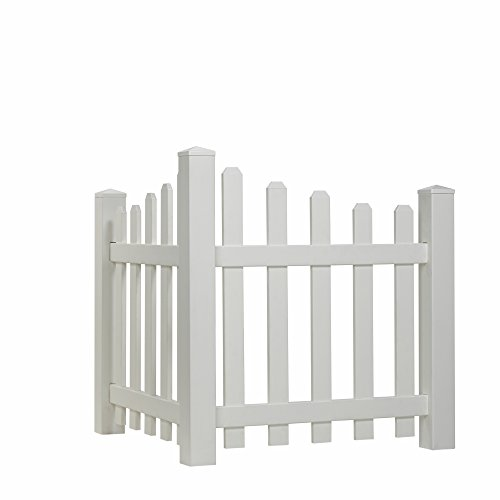 Outdoor Essentials Scalloped Picket Accent Fence with Dog Ear Shaped Cap (Fencing To Hide Air Conditioners compare prices)