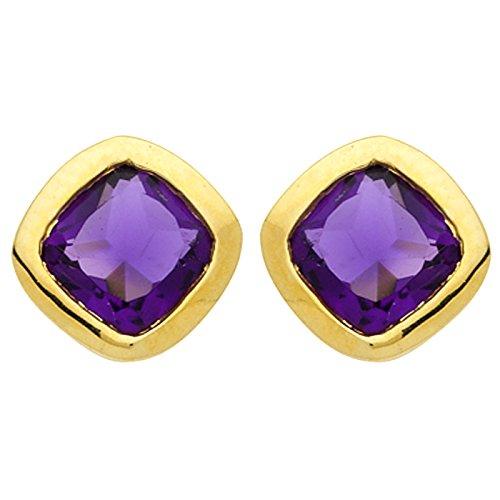 Diamantly - Boucles D'oreilles Bouton Amethyste Carrée - or 375/1000 (9 Carats) - Femme - Fille