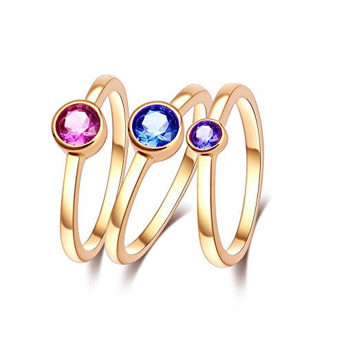 CRARINE Stacking Rings,Halo Solitaire Gemstone setting Pave Cubic Zirconia Fashion Knuckle Stackable Infinity Band Plated Rose Gold Sapphire Purple Red 3 PCS Set for Women Girls 7# (Pave Stackable Ring)