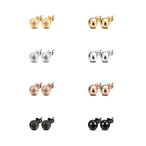 - JewelrieShop Stud Earrings Ball Earrings Shiny and Matt Assorted Colors Set Unisex (8pairs/set) (02. Shiny and Matt, Size 4mm)