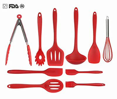 Silicone Kitchen Utensils Set By VIDEOTORG, Non Stick Cooking Utensils Heat Resistant Baking Spatula Hygienic Antibacterial Safety Health Silicone Kithcen Tools For Cooking