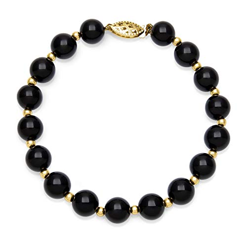 10k Yellow Gold Black Onyx Beaded Bracelet for Women, 7.5