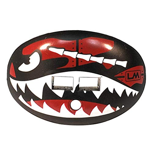 Loudmouth Football Mouth Guard | Military Flying Tiger Adult and Youth Mouth Guard | High Impact Mouth Piece for Sports | Dual Action Air Flow Mouth Guards | Pacifier Lip and Teeth Protector (Red) (Dual Guard Mouth)
