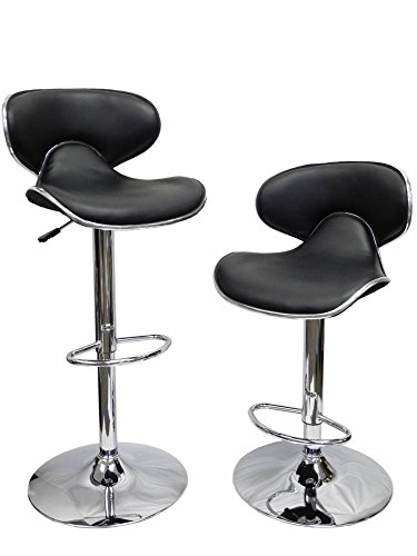Homessity HC-8007 2 PU Leather Modern Adjustable Swivel Hydraulic Chair Bar Stools, Black