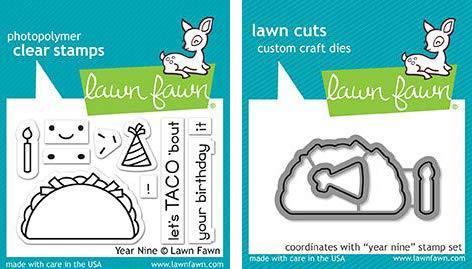 Lawn Fawn - Year Nine - Taco Stamps Set and Dies Set - 2 Item Bundle